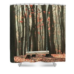 Wooden Swing In Autumn Forest Shower Curtain