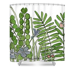 Woodland Ferns Violets Nature Illustration Shower Curtain