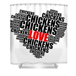 Wordcloud Love Chickens Black Shower Curtain