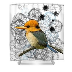 Y Is For Yellow Billed Kingfisher Shower Curtain