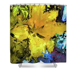 Yellow Flower And The Eggplant Floor Shower Curtain