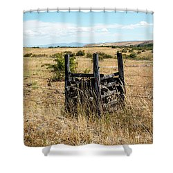 Yellow Grass And Fence Anchor Shower Curtain