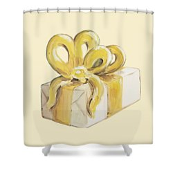 Shower Curtain featuring the painting Yellow Present by Maria Langgle