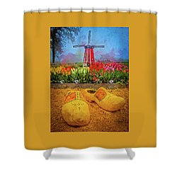 Yellow Wooden Shoes Shower Curtain