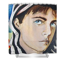 Shower Curtain featuring the painting Youth And Zebra Stripes by Rene Capone