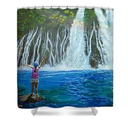Shower Curtain featuring the painting Youthful Spirit by Amelie Simmons