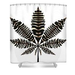 Zebra Pattern Marijuana Leaf 2 Shower Curtain