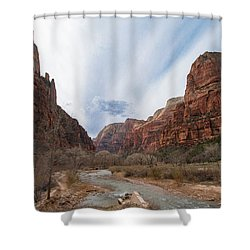 Zion National Park And Virgin River Shower Curtain