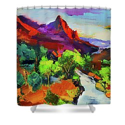 Zion - The Watchman And The Virgin River Vista Shower Curtain