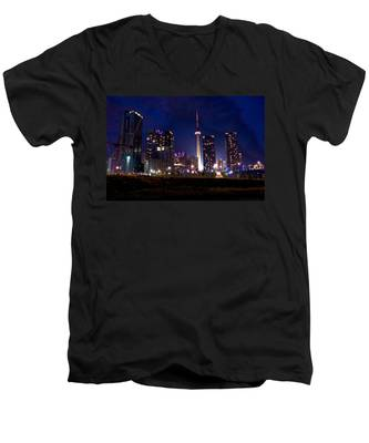 Men's V-Neck T-Shirt featuring the photograph Toronto By Night by Joseph Amaral
