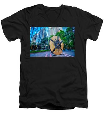 Skyline And City Streets Of Charlotte North Carolina Usa Men's V-Neck T-Shirt