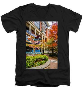 Charlotte City Skyline Autumn Season Men's V-Neck T-Shirt