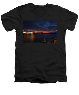 a flaming sunset at Tel Aviv port Men's V-Neck T-Shirt