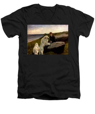A Moment Of Repose With The Magnificent Dogs Men's V-Neck T-Shirt