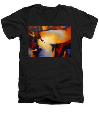 Abstract Red Blue Yellow Men's V-Neck T-Shirt