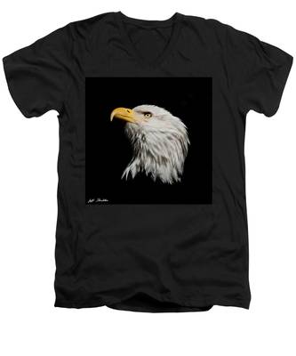 Bald Eagle Looking Skyward Men's V-Neck T-Shirt