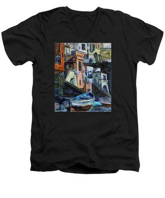 Boats In Front Of The Buildings I  Men's V-Neck T-Shirt