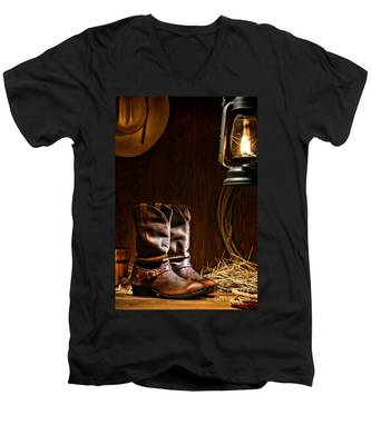 Cowboy Boots At The Ranch Men's V-Neck T-Shirt