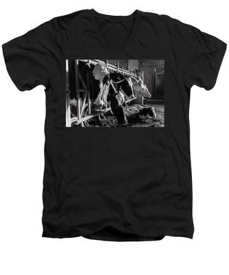 Men's V-Neck T-Shirt featuring the photograph Cows In The Barn2 by Joseph Amaral