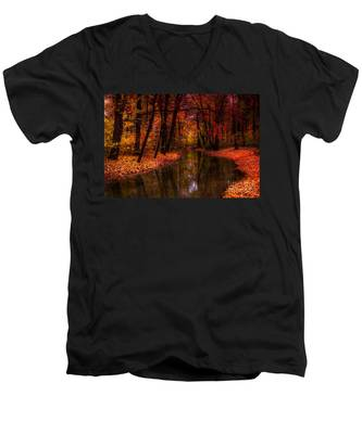 Flowing Through The Colors Of Fall Men's V-Neck T-Shirt