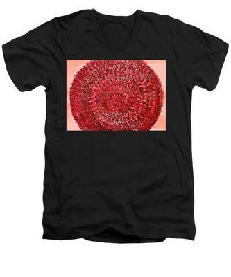 Mandala Sun Original Painting Men's V-Neck T-Shirt