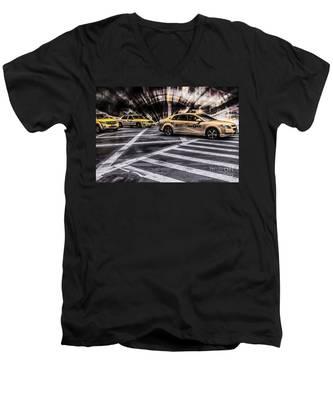Nyc Yellow Cab On 5th Street - White Men's V-Neck T-Shirt