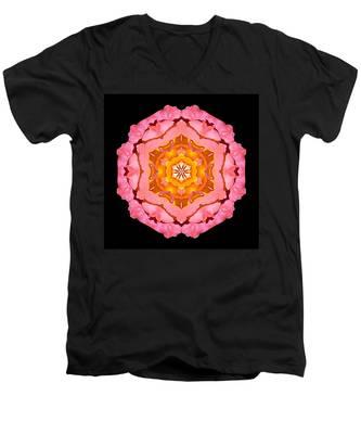 Pink And Orange Rose I Flower Mandala Men's V-Neck T-Shirt