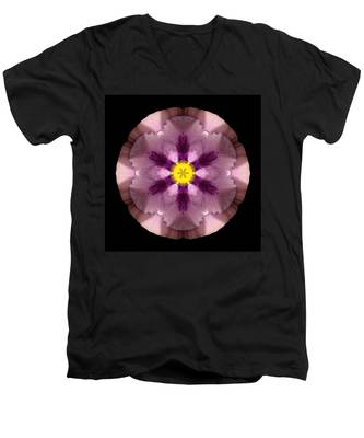 Pink And Purple Pansy Flower Mandala Men's V-Neck T-Shirt