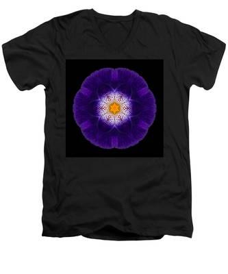 Purple Iris II Flower Mandala Men's V-Neck T-Shirt