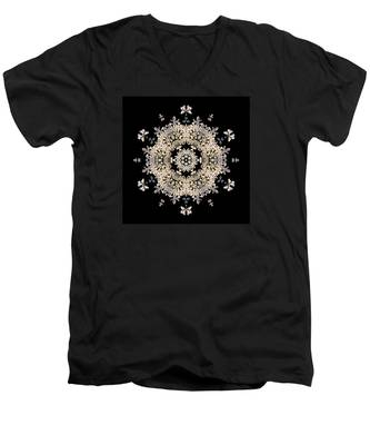 Queen Anne's Lace Flower Mandala Men's V-Neck T-Shirt