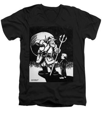 Satan Santa Men's V-Neck T-Shirt