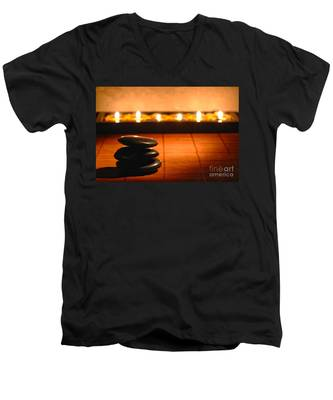 Stone Cairn And Candles For Quiet Meditation Men's V-Neck T-Shirt