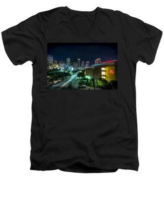 Toyota Center And Downtown Houston Men's V-Neck T-Shirt