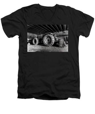 Men's V-Neck T-Shirt featuring the photograph Tractor In The Barn by Joseph Amaral