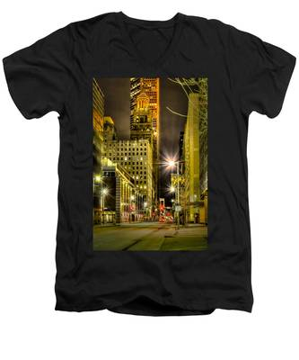Travis And Lamar Street At Night Men's V-Neck T-Shirt