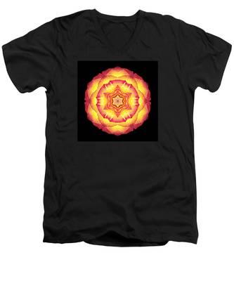 Yellow And Red Rose IIi Flower Mandala Men's V-Neck T-Shirt