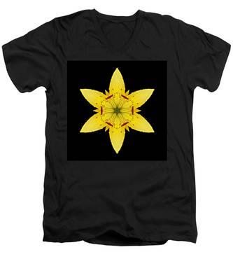 Yellow Lily I Flower Mandala Men's V-Neck T-Shirt