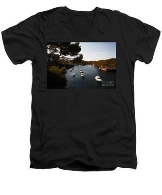 Boats In Cala Figuera Men's V-Neck T-Shirt