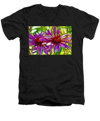 Two Purple Daisy's Fractal Men's V-Neck T-Shirt