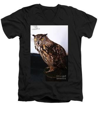 Yellow-eyed Owl Side Men's V-Neck T-Shirt