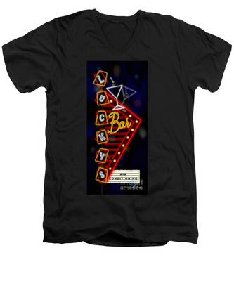 Nightclub Sign Luckys Bar Men's V-Neck T-Shirt