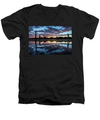 Men's V-Neck T-Shirt featuring the photograph Symetry On The River by Kyle Lee