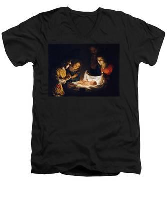 Adoration Of The Child Men's V-Neck T-Shirt