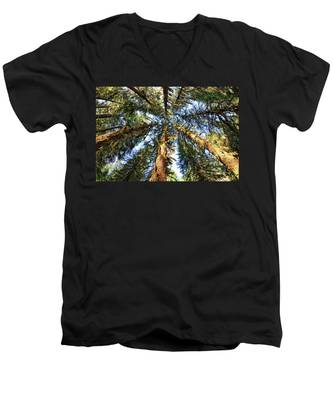 Men's V-Neck T-Shirt featuring the photograph Big Trees In Olympic National Park by Kyle Lee