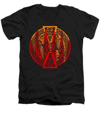Celtic Dragons Fire Men's V-Neck T-Shirt