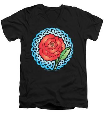 Celtic Rose Stained Glass Men's V-Neck T-Shirt