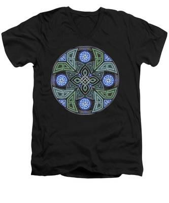 Celtic Ufo Mandala Men's V-Neck T-Shirt