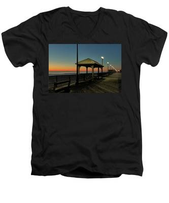 Men's V-Neck T-Shirt featuring the photograph Down The Shore At Dawn by Kyle Lee