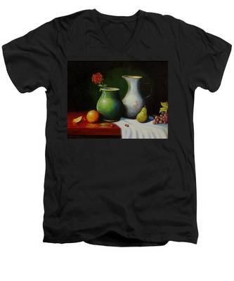 Fruit And Pots. Men's V-Neck T-Shirt