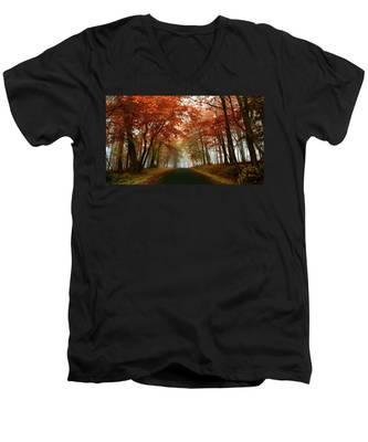 Inner Line Road At Valley Forge Men's V-Neck T-Shirt